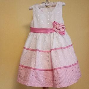 Gingham Eyelet Satin Sash 3T Sleeveless Dress
